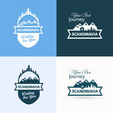 Set of Badges with Scandinavian Landscapes Royalty Free Stock Images
