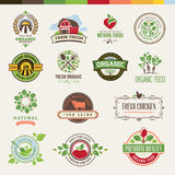 Set of badges and stickers for organic products Royalty Free Stock Images