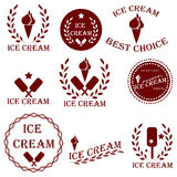 Set badges and stickers for sale of ice cream or advertising caf Stock Photo