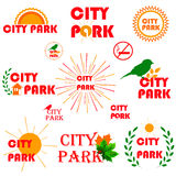 Set of badges, stickers and signboards royalty free illustration