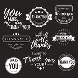 Set of badges with thank you graphics and design elements Stock Images