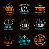 Set of badges in thin line style Royalty Free Stock Images