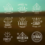 Set of badges in thin line style Stock Photography