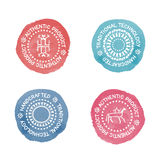 Set of 4 Badges for traditional, authenti or handcrafted products. Stock Images