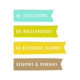 Set of badges. Vitamins and minerals, no cholesterol, preservatives, artificial flavors. Royalty Free Stock Image