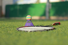 Set for badminton. On the grass before the game Stock Photos