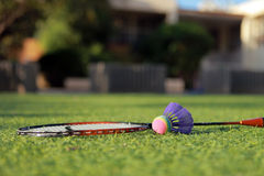 Set for badminton. On the grass before the game Stock Photography