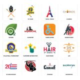 Set of badminton, courage, 20 anniversary, hair studio, volleyball tournament, handicapped, oxygen, eiffel tower, tribe icons. Set Of 16 simple  icons such as Royalty Free Stock Photos
