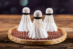 A set of badminton. Paddle and the shuttlecock. Royalty Free Stock Photo