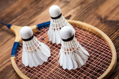 A set of badminton. Paddle and the shuttlecock. Stock Photos