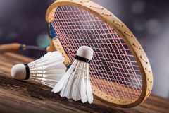 A set of badminton. Paddle and the shuttlecock. Royalty Free Stock Photos