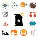 Set of bag chips, dab, folded hands, hiker, 360 degree, hospitality, inquiry, earthquake icons. Set Of 13 simple editable icons such as bag of chips, dab, folded Stock Photo