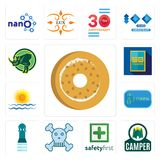 Set of bagel, camper, safety first, skull and crossbones, girls bathroom, 20 year, rising sun, 50 rhino icons. Set Of 13 simple  icons such as bagel, camper Stock Image