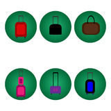 Set of baggage suitcase icons various colors. Stock Images