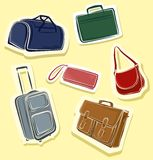 Set of bags. A set of 6 colorful bags and suitcases Royalty Free Stock Images