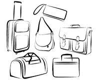 Set of bags. A set of drawings different bags Stock Image
