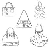 Set of bags on white background. Vector illustration Royalty Free Stock Photography