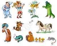 Set bajek zwierzęta i charaktery Obraz Stock