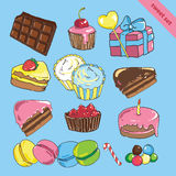 Set with bake and sweets. With chocolate, cake, candy, candy, gift, berries Stock Photography