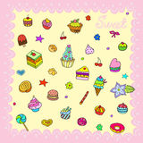 Set with bake and sweets Royalty Free Stock Photo