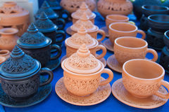 The set of baked clay coffee cup Stock Image