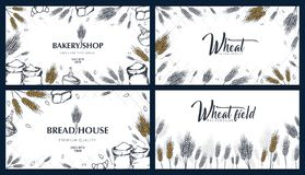 Set of Bakery backgrounds with wheats. Linear graphic. Bread banner collection. Bread house. Vector illustration. stock image