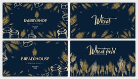Set of Bakery backgrounds with wheats. Linear graphic. Bread banner collection. Bread house. Vector illustration. royalty free stock photography