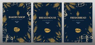 Set of Bakery backgrounds with wheats. Linear graphic. Bread banner collection. Bread house. Vector illustration. royalty free stock image