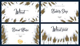 Set of Bakery backgrounds with wheats. Linear graphic. Bread banner collection. Bread house. Vector illustration. royalty free stock images