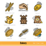 Set of Bakery and Bakery Product Outline Web Icons Royalty Free Stock Photos