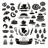 Set of bakery design elements and icons Royalty Free Stock Photos