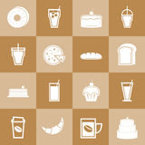 Set of bakery and drinks elements for coffee shop Stock Images
