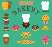 Set of bakery flat elements isolated - baker person, chef`s hat, moustache, bread, baguette, loaf, rolling pin, cake, macarons,cro Royalty Free Stock Images