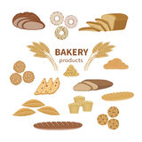 Set of bakery fresh bread and pastry. Food Collection and shop elements of sliced loaf, french baguette, rye bread, wheat branch Stock Image
