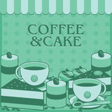 Set of Bakery green tone. Bakery and coffee with cute background Stock Images