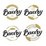 Set of Bakery hand written lettering logo, label, badge, emblem. Vintage style. Golden wheat. Isolated on white background. Vector illustration Stock Image