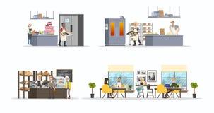 Set of bakery interior stock illustration