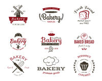 Set of bakery labels, icons, badges and design Stock Image