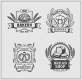 Set of Bakery labels. Vector monochrome design vector illustration