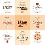 Set of 9 bakery labels Royalty Free Stock Photo