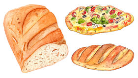 Set of bakery: loaf of bread and pizza. Set of fresh bakery: pizza and bread, watercolor on white background Stock Photography