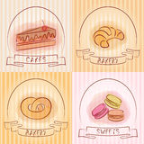 Set of bakery logos. Baking and pastries labels. Royalty Free Stock Photography