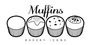 Set of bakery muffins. On a white background, Outline illustration stock illustration