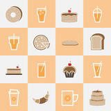 Set of bakery and orange juice elements for drinks Stock Photo