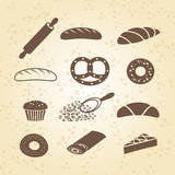 Set of bakery, pastry and bread icon Stock Images
