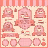 Set of Bakery pink tone. Bakery pink label and cute background Royalty Free Stock Image