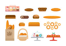 Set of bakery products and elite bread, sweets. Bakery showcase. Set of bakery products food and elite bread, bakery items and sweets. Bakery showcase. Vector Stock Photo