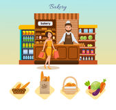 Set of bakery products and elite bread, sweets. Bakery showcase. Royalty Free Stock Photos