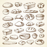 Set with bakery products. Sketch vector illustration. Hand drawn collection bread, loaf, muffin, croissant Royalty Free Stock Images