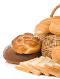 Set of bakery products on white Royalty Free Stock Images